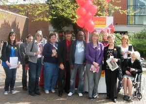 Members campaigning on Red Rose Day with Harriet Harman MP