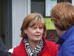 Yvonne Waterhouse talking to a member of the public